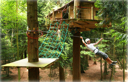 someone using a zip line from a treehouse