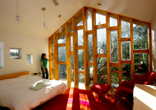 Sakhiba Khairulla takes in the stunning view from her new treehouse addition.